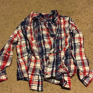 Women's red white blue button up